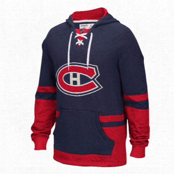 Montreal Canadiens Ccm Retro Pullover Lace Hoodie - Navy