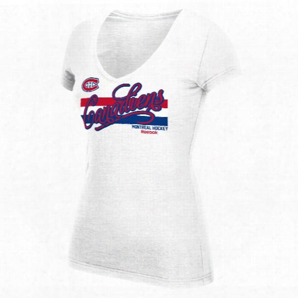 Montreal Canadiens Women's Script Authentic Stripes V-neck T-shirt