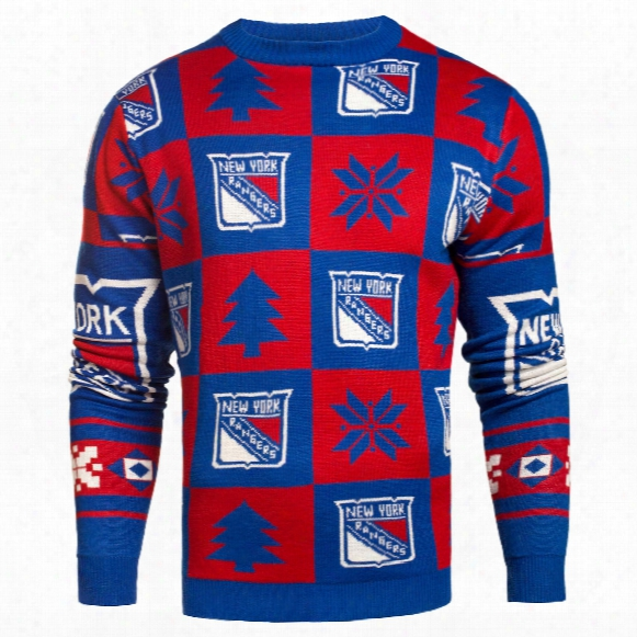 New York Rangers Nhl Patches Ugly Crewneck Sweater