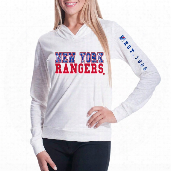 New York Rangers Women's Triple Hit Fx Long Sleeve Hoodie (off White)