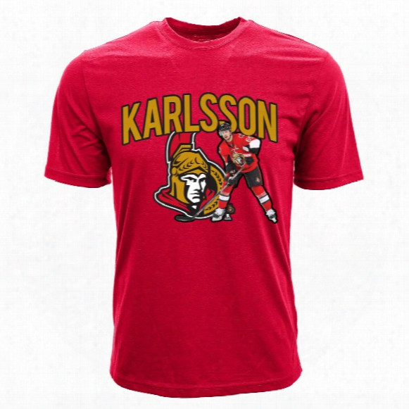 Ott Awa Senators Erik Karlsson Nhl Action Pop Applique T-shirt