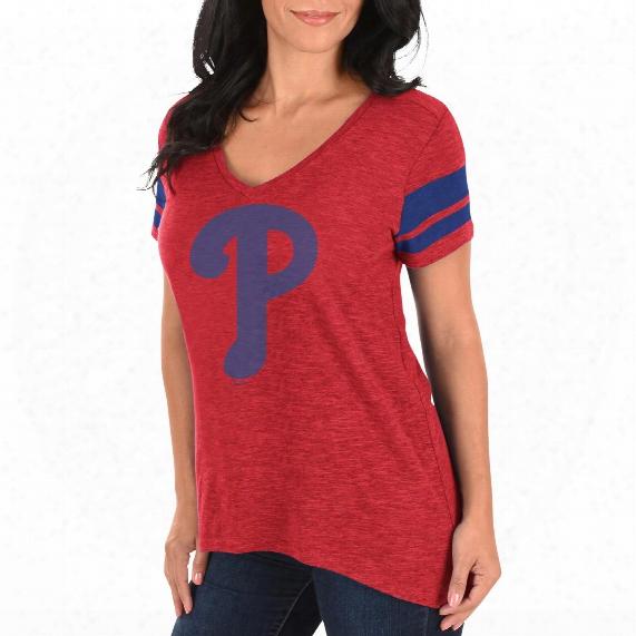 Philadelphia Phillies Women's Check The Tape V-neck T-shirt