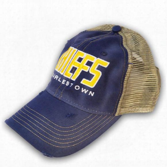 *slapshot* Charlestown Chiefs Old Time Hockey Distressed Washed Trucker Cap