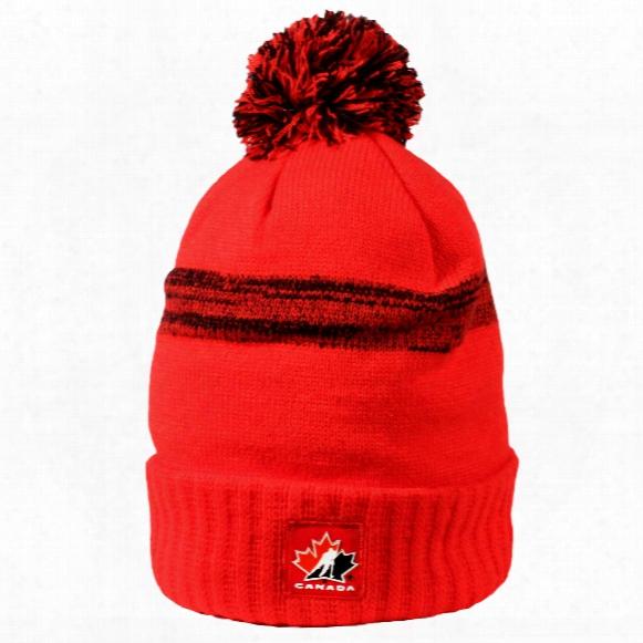 Team Canada Iihf Cuffed Pom Knit Hat (red)