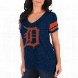 Detroit Tigers Women's Check The Tape V-Neck T-Shirt