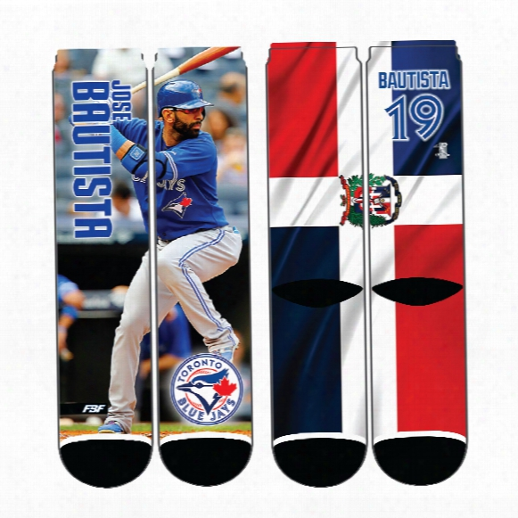 Toronto Blue Jays Jose Bautista Player Photo Mega Flag Crew Socks