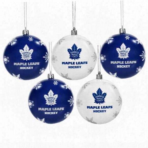 Toronto Maple Leafs 5 Pk Shatterproof Ball Ornaments