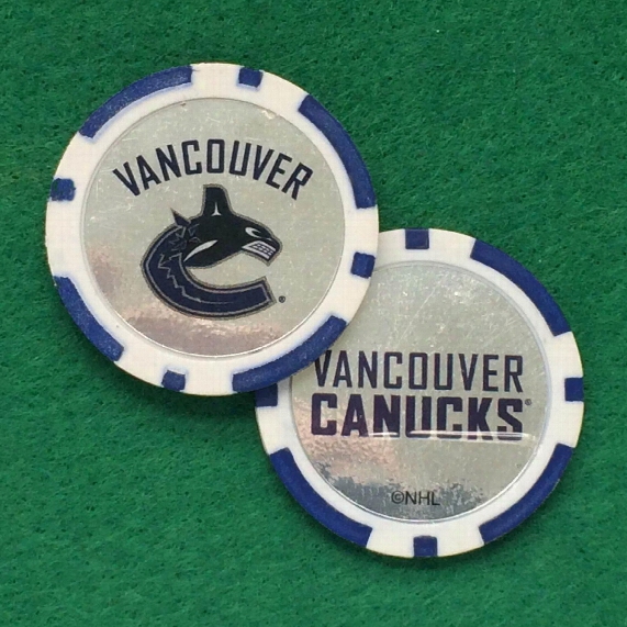 Vancouver Canucks Nhl Poker Chip Golf Ball Marker 2 Pack
