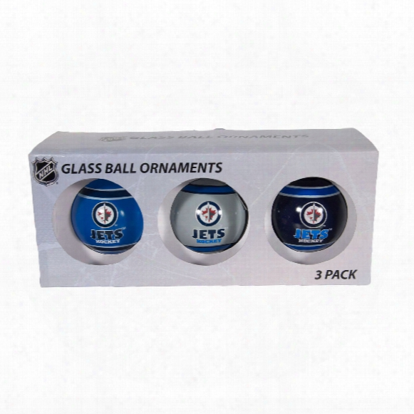 Winnipeg Jets 3 Pk Glass Ball Ornaments