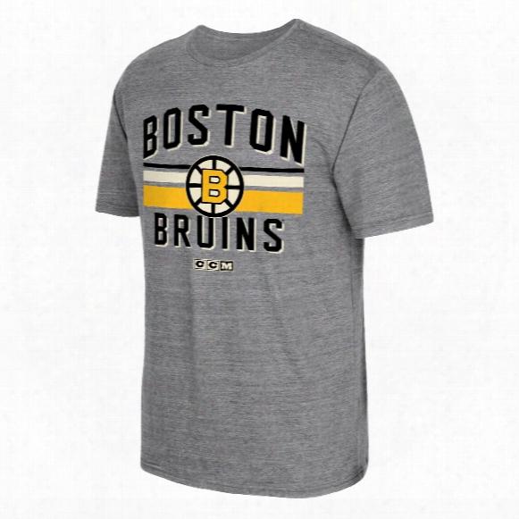 Boston Bruins Ccm Retro Classic Stripe Tri-blend T-shirt