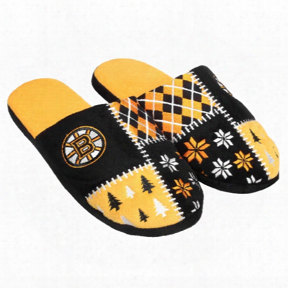 Boston Bruins Men's Ugly Sweater Knit Slippers