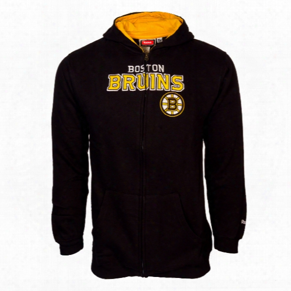 Boston Bruins Youth Stated Embroidered Full Zip Hoodie - Black