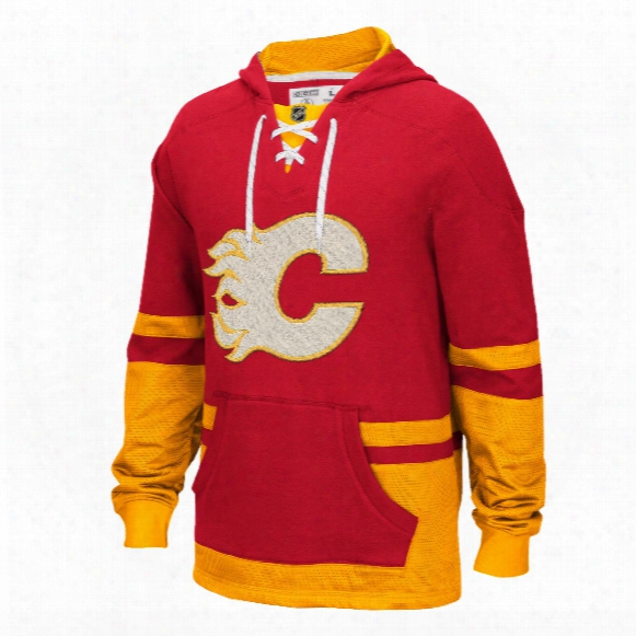 Calgary Flames Ccm Retro Pullover Lace Hoodie