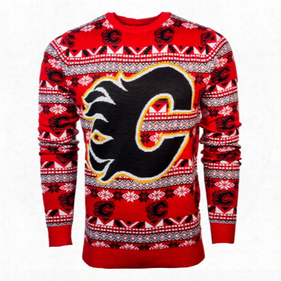 Calgary Flames Nhl Big Logo Ugly Crewneck Sweater