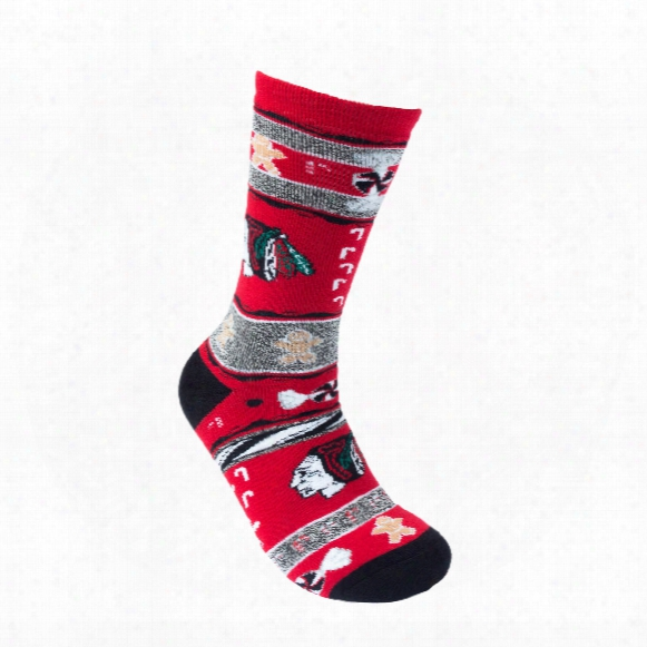 Chicago Blackhawks Holiday Knit Crew Socks