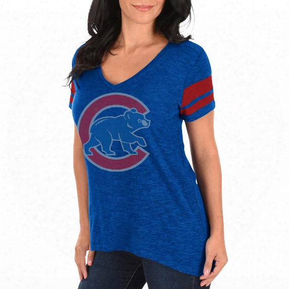 Chicago Cubs Women's Check The Tape V-neck T-shirt