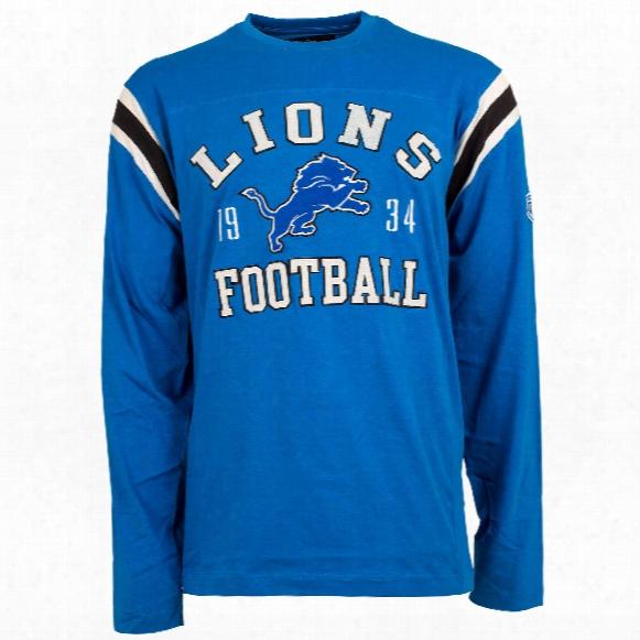Detroit Lions Nfl Lateral Felt Applique Long Sleeve Jersey T-shirt