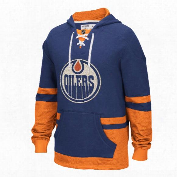 Edmonton Oilers Ccm Retro Pullover Lace Hoodie
