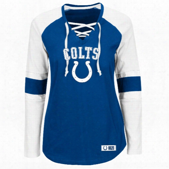 Indianapolis Colts Women's Winning Style Nfl Lace V-neck Long Sleeve T-shirt