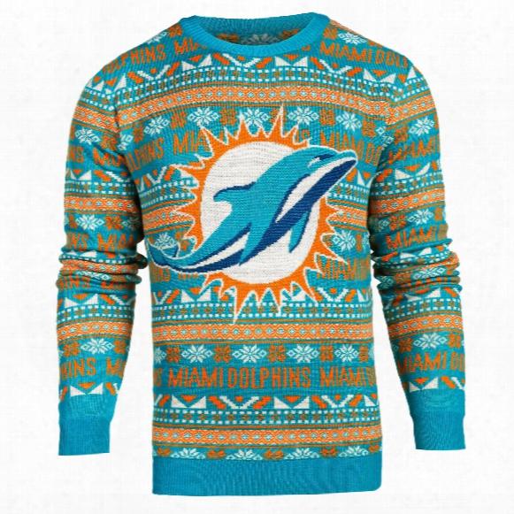 Miami Dolphins Nfl Big Logo Ugly Crewneck Sweater