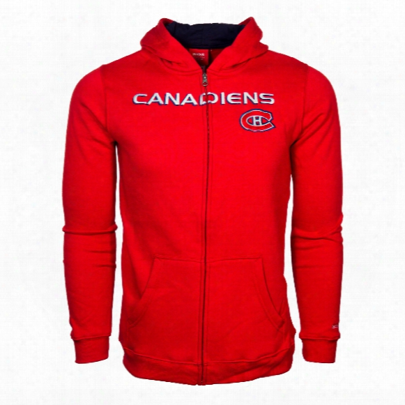 Montreal Canadiens Youth Stated Embroidered Full Zip Hoodie - Red