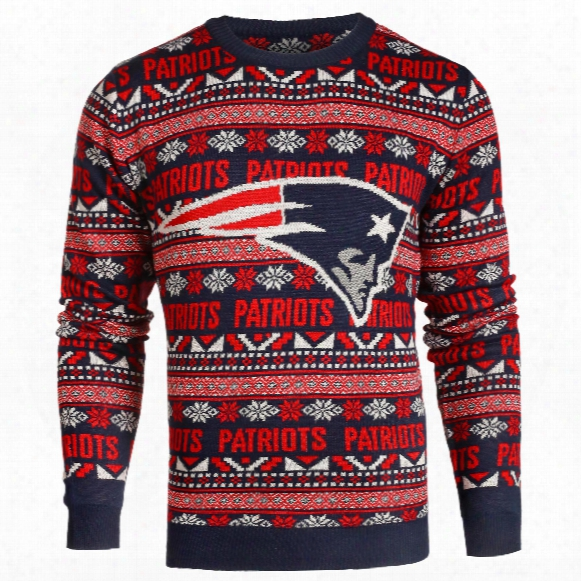 New England Patriots Nfl Big Logo Ugly Crewneck Sweater