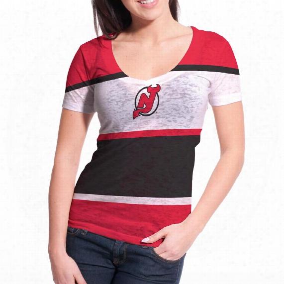New Jersey Devils Women's Four Stripe Fx Burnout T-shirt