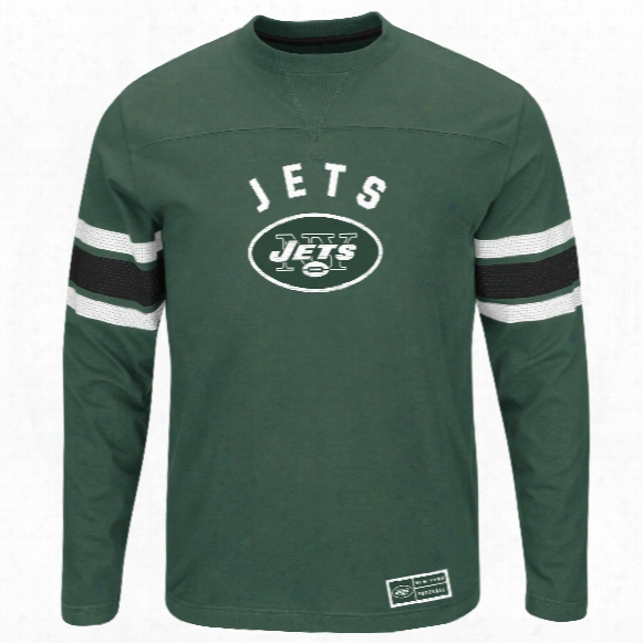 New York Jets 2016 Power Hit Long Sleeve Nfl T-shirt With Felt Applique
