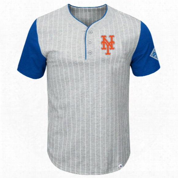 New York Mets Pinstripe Henley T-shirt