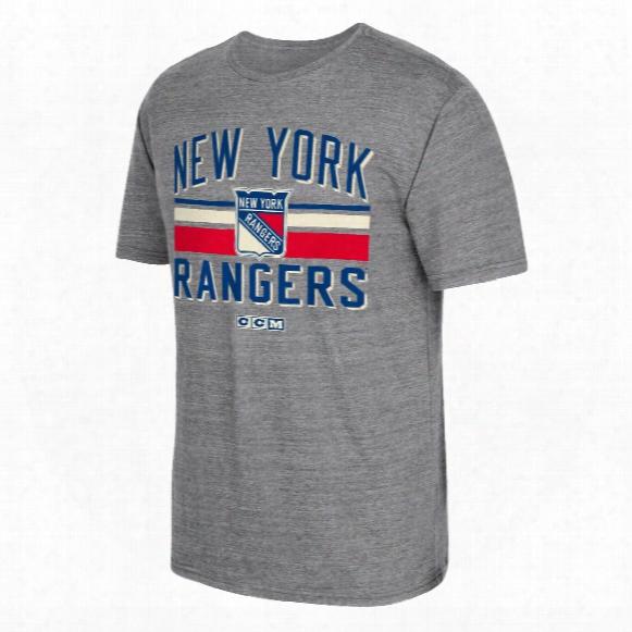 New York Rangers Ccm Retro Classic Stripe Tri-blend T-shirt