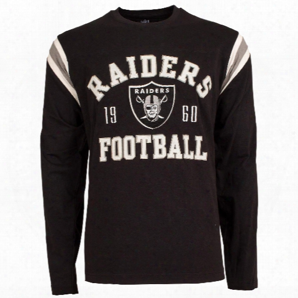 Oakland Raiders Nfl Lateral Felt Applique Long Sleeve Jersey T-shirt