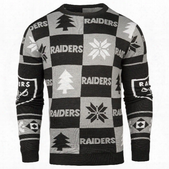 Oakland Raiders Nfl Patches Ugly Crewneck Sweater