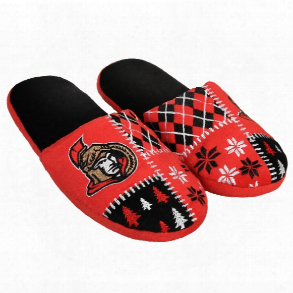 Ottawa Senators Men's Ugly Sweater Knit Slippers