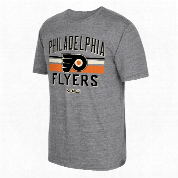 Philadelphia Flyers Ccm Retro Classic Stripe Tri-blend T-shirt