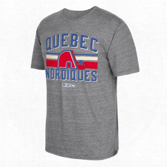 Quebec Nordiques Ccm Retro Classic Stripe Tri-blend T-shirt