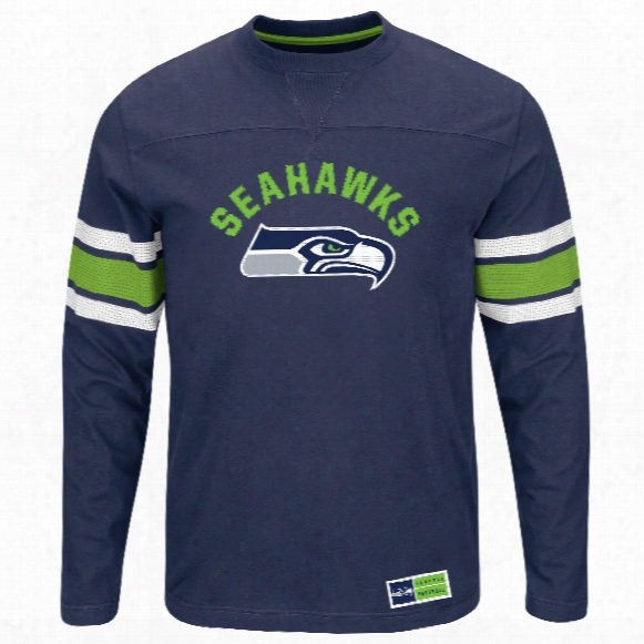 Seattle Seahawks 2016 Power Hit Long Sleeve Nfl T-shirt With Felt Applique