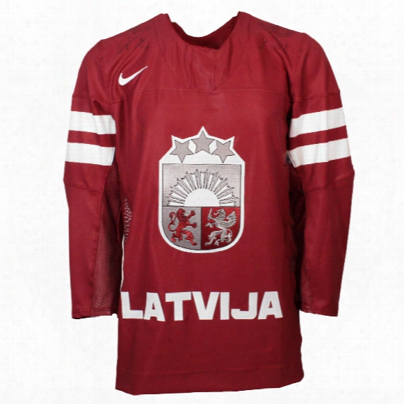Team Latvia Iihf 2016-17 Official Twill Replica Hockey Jersey
