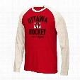Ottawa Senators CCM Retro Logo Tri-Blend Raglan Long Sleeve T-Shirt