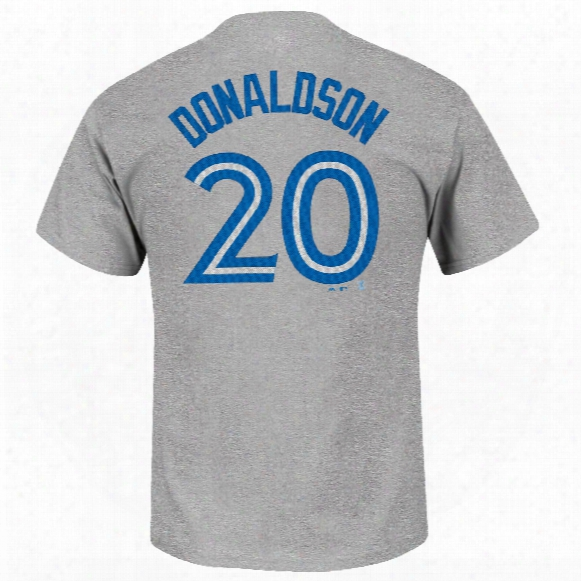 Toronto Blue Jays Josh Donaldson Mlb Player Name & Number Road T-shirt (gray)