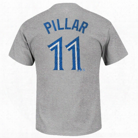Toronto Blue Jays Kevin Pillar Mlb Player Name & Numbed Road T-shirt (gray)