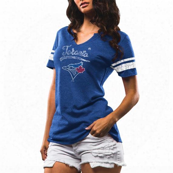 Toronto Blue Jays Women's Spirit Awareness Notch Neck Tri-blend T-shirt