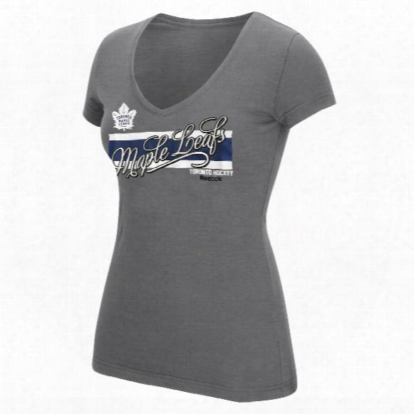 Toronto Maple Leafs Women's Script Authentic Stripes V-neck T-shirt