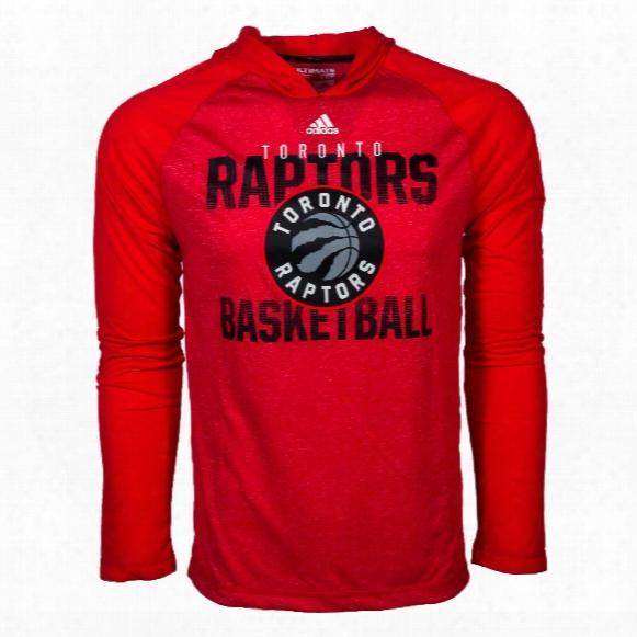 Toronto Raptors Adidas Nba Climalite Ultimate Long Sleeve Hooded T-shirt