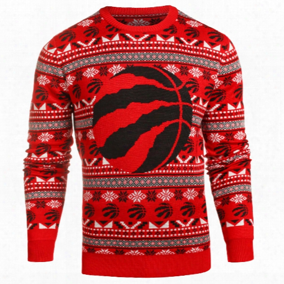 Toronto Raptors Nba Big Logo Ugly Crewneck Sweater