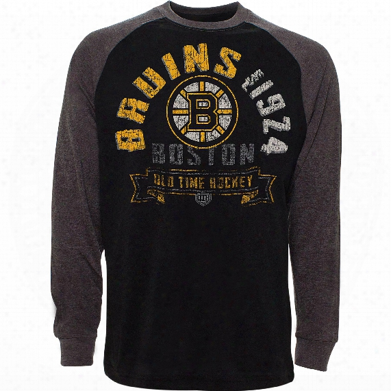 Boston Bruins Cannon Raglan Long Sleeve Jersey T-shirt