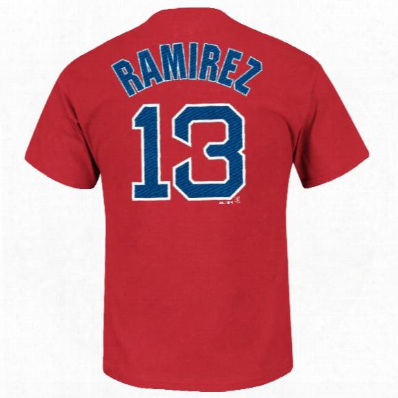Boston Red Sox Hanley Ramirez Mlb Player Name & Number T-shirt (red)