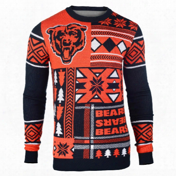 Chicago Bears Nfl 2015 Patches Ugly Crewneck Sweater