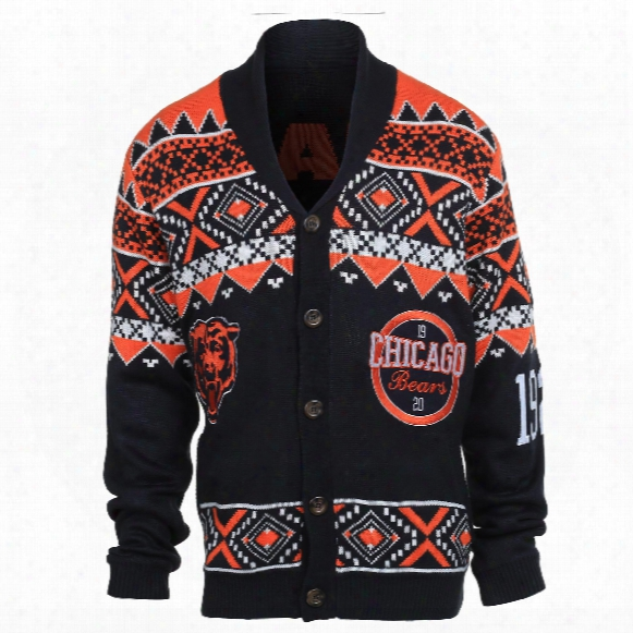 Chicago Bears Nfl Ugly Knit Cardigan Sweater