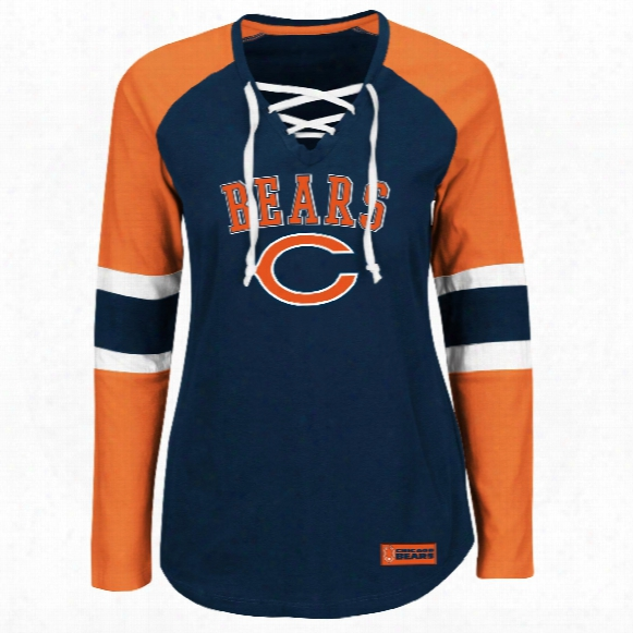 Chicago Bears Women's Winning Style Nfl Lace V-neck Long Sleeve T-shirt