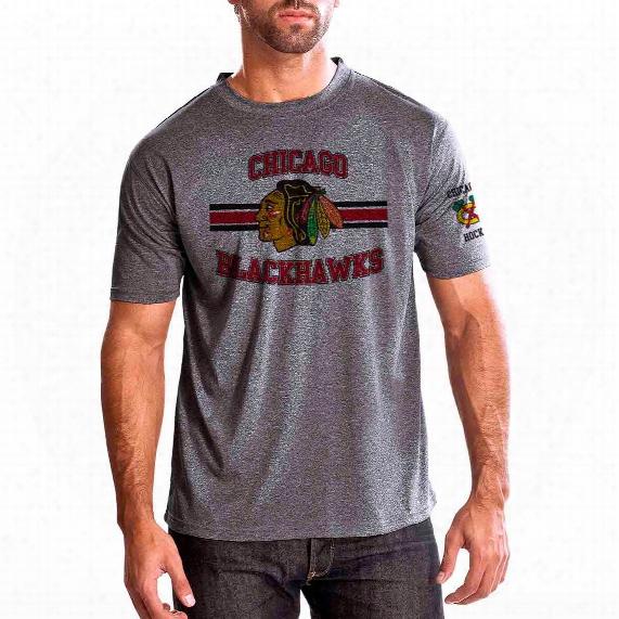 Chicago Blackhawks Bar Stripe Performance Fx T-shirt (heather Pepple)